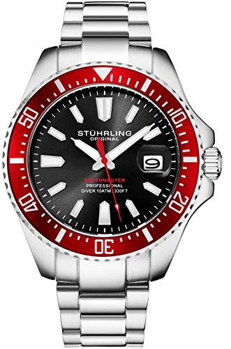 Stuhrling Original Watches for Men - Pro Diver Watch - Sports Watch for Men with Screw Down Crown for 330 Ft. of Water Resistance - Analog Dial, Quartz Movement (Red)