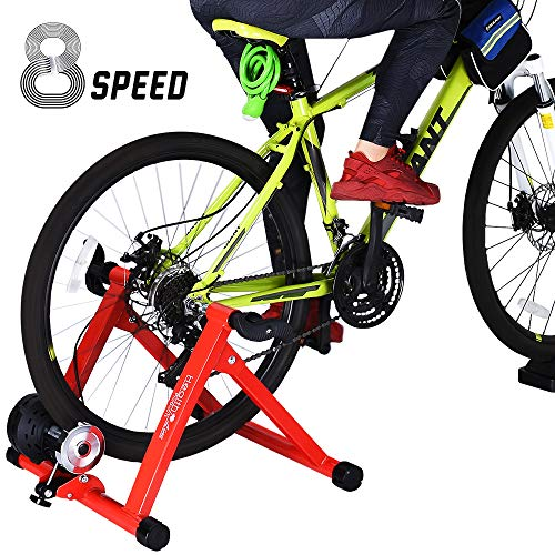 HEALTH LINE PRODUCT Indoor Cycle Trainer, Noise Reduction Super Quiet Bicycle Exercise Stand w Quick Release 8 Levels Resistance w Front Wheel Block
