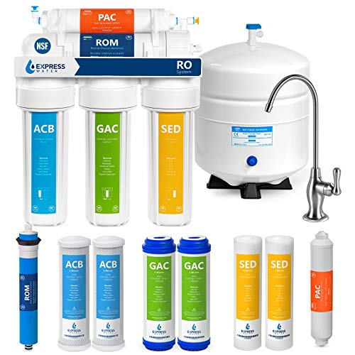 Express Water RO5DX Reverse Osmosis Filtration NSF Certified 5 Stage RO System with Faucet and Tank – Under Sink Water Plus 4 Replacement Filters – 50 GPD, 14 x 15 x 5