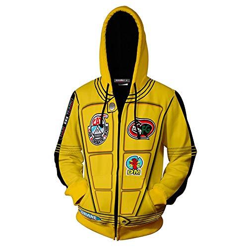 SPCOSPLAY Beatrix Kiddo Costume Halloween Cosplay Jacket 3D Printed Zipper Hoodie for Unisex (Large, Yellow)