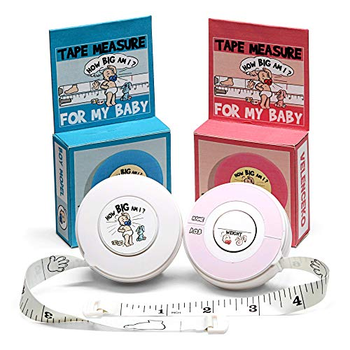 None How Big Am I Tape Measure Baby Height Chart, Portable Kids Growth Milestone Ruler and Recorder, Available in Pink and Blue, Excellent Baby Shower, Durable PVC Material,1 Pc per Pack