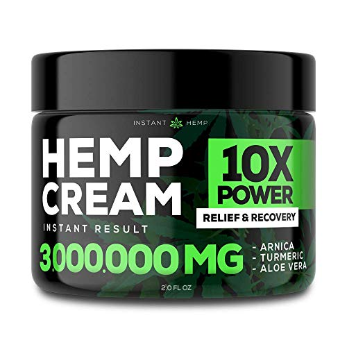 Instant Hemp Pain Relief Cream - 3,000,000 - Relieve Muscle, Joint & Arthritis Pain - Natural Hemp Extract for Arthritis, Foot & Back Pain - 2oz