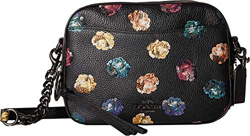 COACH Camera Bag in Floral Printed Leather Dk/Black Multi One Size