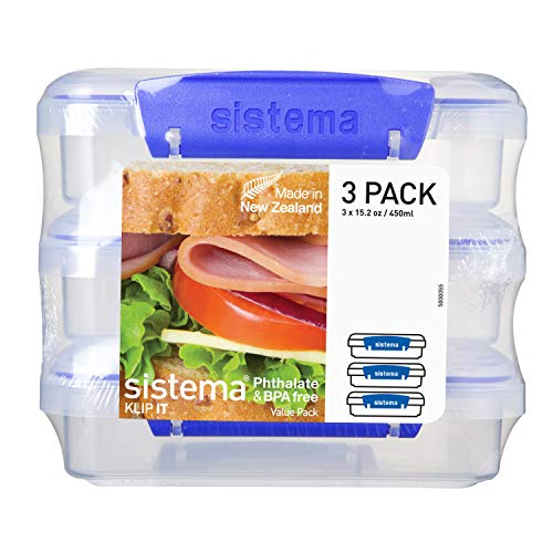 Sistema KLIP IT Collection Sandwich Box 1.9 Cup Compact Food Storage Container, 3 Pack, Clear/Blue   Great for Meal Prep   BPA Free, Reusable