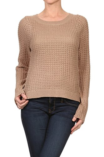 WHITE APPAREL Women's Long Sleeve Knitted Sweater - Straight - Taupe (Large)