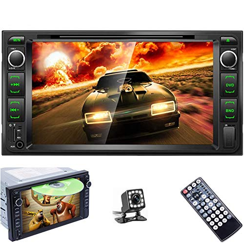 Podofo Double Din Car DVD Player 7'' High Digital LCD Touch Screen Bluetooth FM Radio Receiver DVD/CD/MP3/USB/SD/AUX in Dash Car Stereo Autoradio with Backup Camera Remote Control for Toyota Corolla