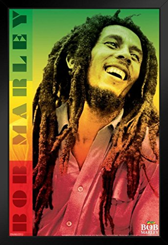Pyramid America Bob Marley Reggae Color Black Wood Framed Poster 14x20