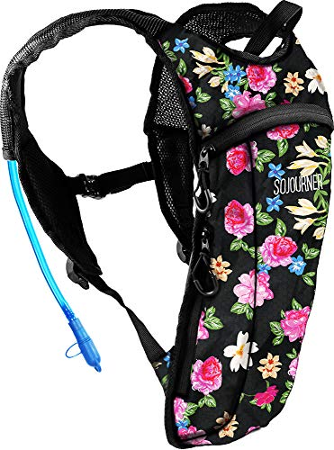 Sojourner Rave Hydration Pack Backpack - 2L Water Bladder Included for Festivals, Raves, Hiking, Biking, Climbing, Running and More (Small) (Floral Traditional)