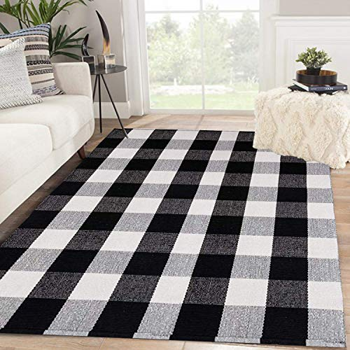 SHACOS Black White Buffalo Plaid Rug 4x6 ft Front Door Rug Entry Rug Large Cotton Area Rug for Kitchen Living Room Bedroom Doorway (4'x6', Black White)
