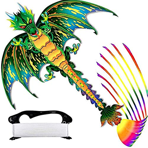 Super Big Dragon Kite Upgraded with 9 Extra Long Colored Tails, Easy to Fly Beach Dinosaur Kites for Kids Adult Beginner Professionals, Outdoor Trip Camping Competition Fun Sports, 62INX128IN Green