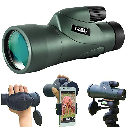 Gosky Skyhawk 10x50 High Power Prism Monocular and Quick and Quick Smartphone Holder for Wildlife Bird Watching Hunting Camping Travelling Wildlife Secenery - Smart BAK4 Prism FMC Lens