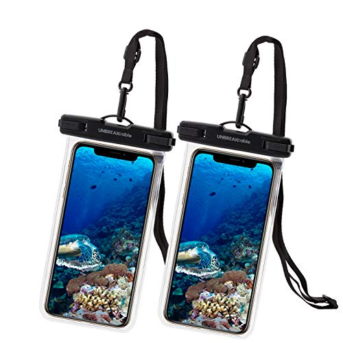 UNBREAKcable Universal Waterproof Pouch, IPX8 Waterproof Dry Bag Underwater Case for iPhone 12 Pro Max/11/Xs Max/XR/X/8 Plus Galaxy Pixel up to 7', for Beach Kayaking Travel or Bath-2 Pack, Clear