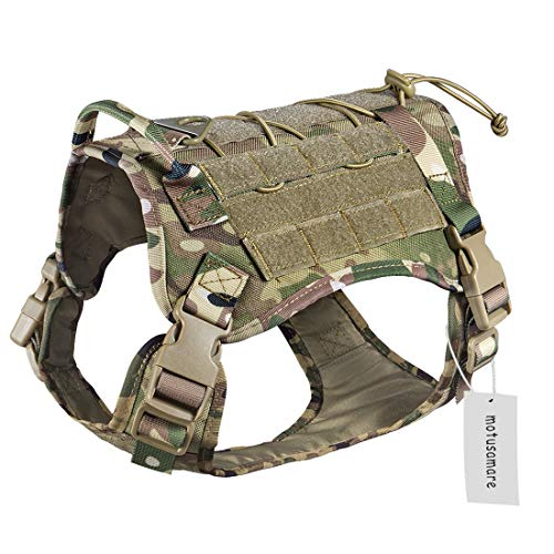 Motusamare Service Dog Vest Training Hunting Molle Nylon Water-Resistant Military Patrol Adjustable Comfortable K9 Tactical Dog Harness with Handle (Camouflage) (L, CP) …