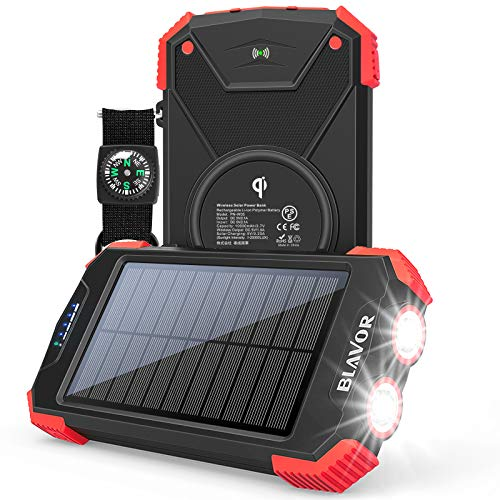 Solar Charger Power Bank, Qi Wireless Charger 10,000mAh External Battery Pack Type C Input Port Dual Flashlight, Compass, Solar Panel Charging (Red)