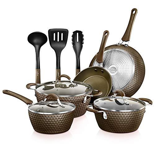 11-Piece Nonstick Kitchen Cookware Set - PTFE/PFOA/PFOS-Free Heat Resistant Kitchen Ware Pots Pan Set Coffee Ceramic Coating - Saucepot, Pans, Cooking Pot Oven Pot, Lid, Utensil -NutriChef NCCW11COF