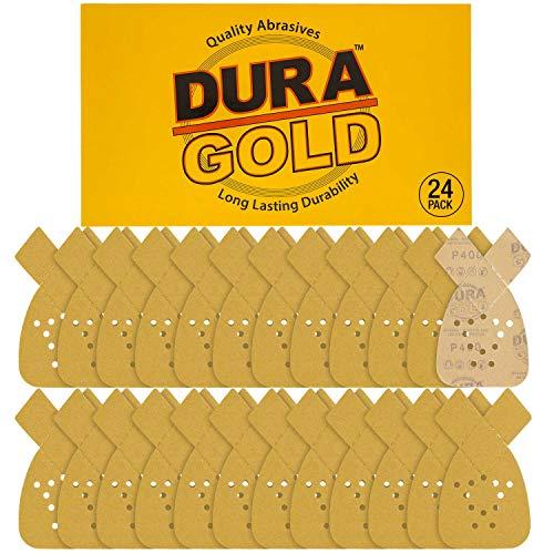 Dura-Gold - Premium Hook & Loop - 24 Sheets of 400 Grit 12-Hole Hook & Loop Sanding Sheets for Mouse Sanders - Box of 24 Sheets fits Black and Decker mouse sanders