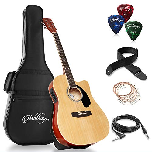 Ashthorpe Full-Size Cutaway Thinline Acoustic-Electric Guitar Package - Premium Tonewoods - Natural
