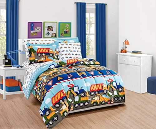 MK Home 5pc Twin Comforter and Sheet Set Teens/Boys Construction Trucks Tractors Blue Red Yellow New