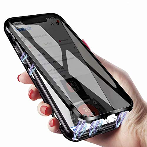 Anti-Peeping iPhone 8 Plus 7 Plus 360° Full Body Case ,Clear Double Sided Tempered Glass [Magnetic Adsorption] Metal Bumper Protection Privacy Cover for iPhone 8 plus 7 Plus(Black, iPhone8Plus/7Plus)