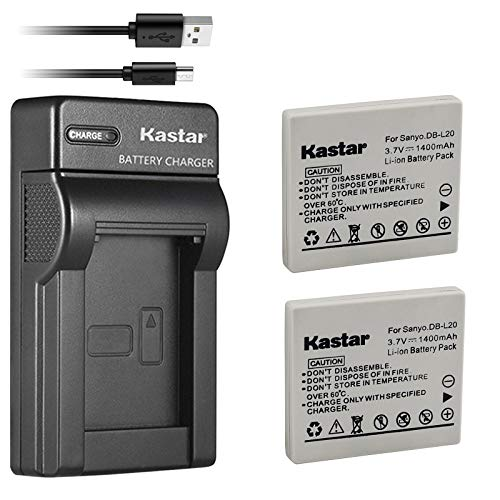Kastar Battery (X2) & Slim USB Charger for Sanyo DB-L20 and Sanyo VPC-C40, VPC-C5, VPC-C6, VPC-CA6, VPC-CA65, VPC-CA8, VPC-CA9, VPC-CG6, VPC-CG65, VPC-CG9, VPC-E1, VPC-E2, VPC-E6, VPC-E7, VPC-S7