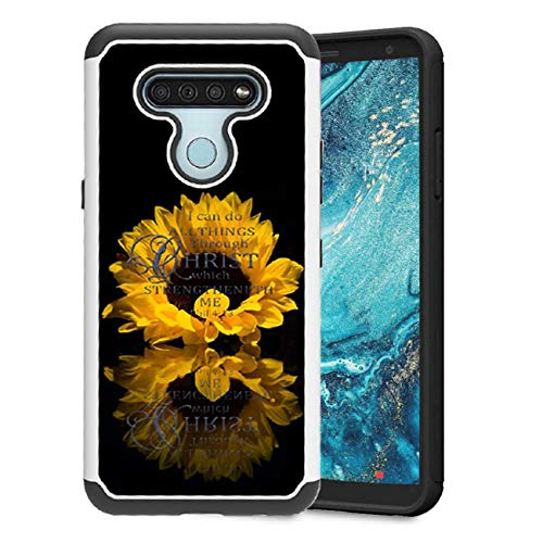 Cell Phone Cover Compatible with LG K51 Case LG Reflect Case,LG Q51 Case TPU&PC Heavy Duty Rugged Mobile Phone Protective Covers for Women/SunflowerWhite