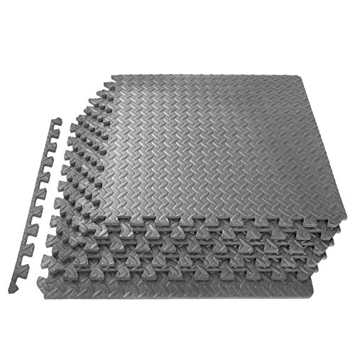 ProsourceFit Extra Thick Puzzle Exercise Mat 1/2', EVA Foam Interlocking Tiles for Protective, Cushioned Workout Flooring for Home and Gym Equipment, Grey
