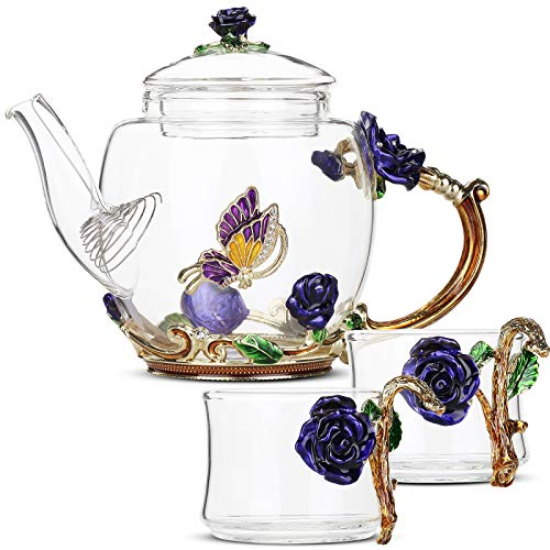BTaT Glass Tea Set with 2 Fancy Cups, Blue Flower and Butterfly Design