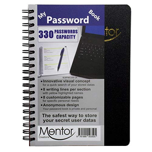 My Password Book - 7' X 5' Quick Search Design Password and Private Code Journal (Black, Regular)