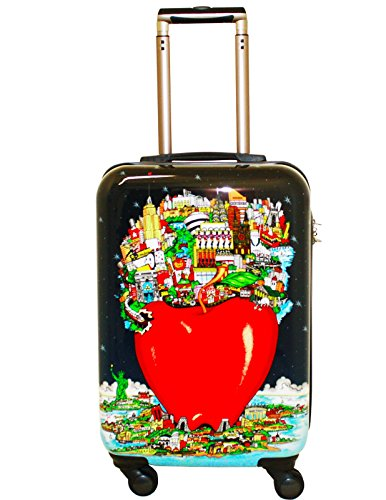 Charles Fazzino 'In the center of it all at night' - 22' Carry-on Luggage by VISIONAIR Luggage