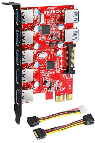 Inateck Superspeed 7 Ports PCI-E to USB 3.0 Expansion Card - 5 USB 3.0 Ports and 2 Rear USB 3.0 Ports Express Card Desktop with 15 Pin SATA Power Connector, Including Two Power Cables (KT5002)