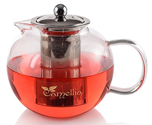 Camellia Teapot with Removable Stainless Steel Infuser, Borosilicate Glass, Loose Leaf Tea Kettle Stove top Safe - Holds 5 Cups 40 Ounce 1200ml