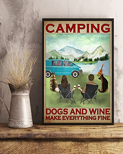 Camping Dogs and Wine Make Everything Fine Guitar Vertical Poster Wall Art & Wall Decor & Painting for College Dorm – Office Decor - Makeup Room Decor - Dorm Room Poster