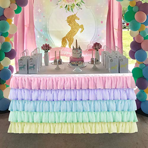 KIXIGO Rainbow Tulle Table Skirt Table Cloth for Rectangle or Round Table, Table Skirting for Wedding,Birthday,Baby Shower,Party Decoration (Rainbow, L 6(ft) H 30in)