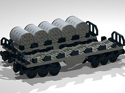 12-Wheel Flat Bed Wagons with Metal Coils: Lego MOC building instructions