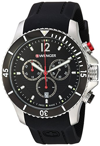 Wenger Men's Seaforce Chrono Stainless-Steel Swiss-Quartz Watch with Silicone Strap, Black, 21 (Model: 01.0643.108)