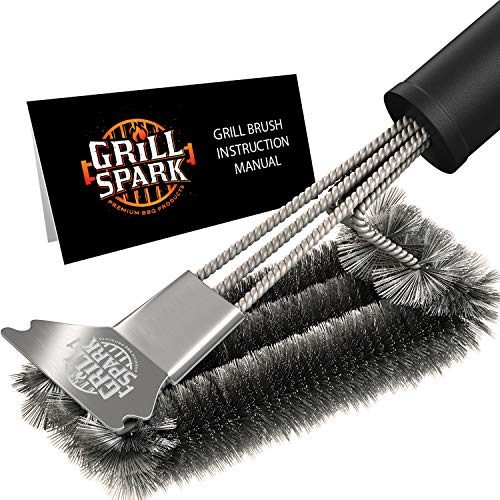 Grill Spark Quick/Easy BBQ Grill Brush and Scraper 18' | Safe Stainless Steel Barbecue Steam Cleaning Brush | Best for Weber Gas, Charcoal, Porcelain, Cast Iron, All Grilling Grates | Accessories Gift