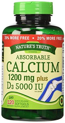 Nature's Truth Calcium 1200 mg Plus Vitamin D3 5000 IU Supplements, 120 Count (Pack of 3)