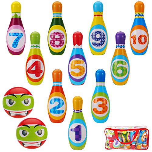 Kids Toys Bowling Set for Toddlers - Eductional Toy Active Game for Birthday Party - Fun Sports Games, Outside Games or Indoor Games for Kids Gift for 1 2 3 4 5 6 Year Olds Children Boys & Girls (Bowling Boll & Storage Bag)