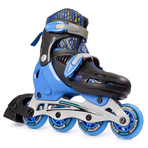 New Bounce Adjustable Inline Skates for Kids - 4 Wheel Blades Roller Skates for Boys, Girls, Teens, and Young Adults Outdoor Rollerskates for Beginners & Advanced | Blue (Medium (2-5 US))