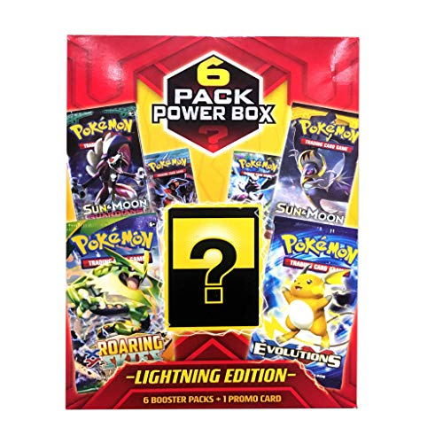 Pokemon Cards: 6 Pack Power Value Box - Lightning Edition | 6 Booster Pack | 1 Promo Cards | All Factory Sealed Pack, Multicolor | Assortment Styles May Vary