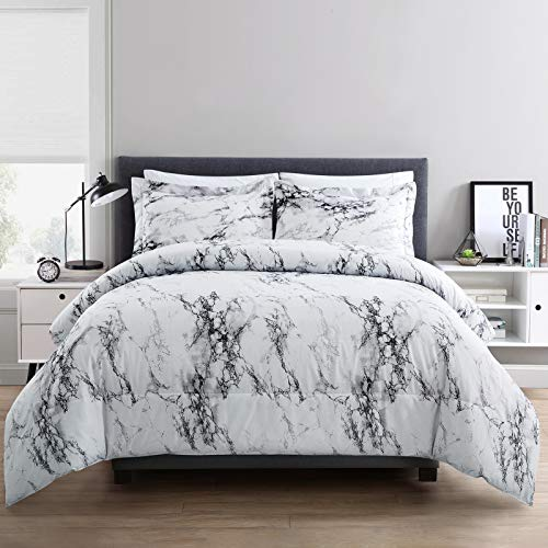 ARTALL 2 Piece Printed Marble Comforter Set with 1 Sham, Soft Microfiber Bedding for All Season, Twin