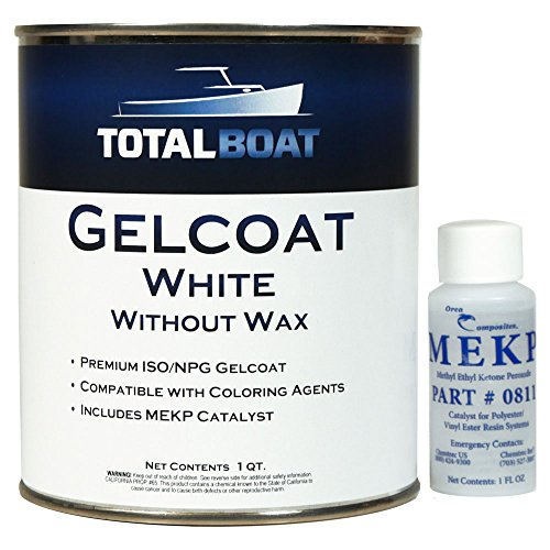 TotalBoat Marine Gelcoat for Boat Building, Repair and Composite Coatings (White, Quart No Wax)