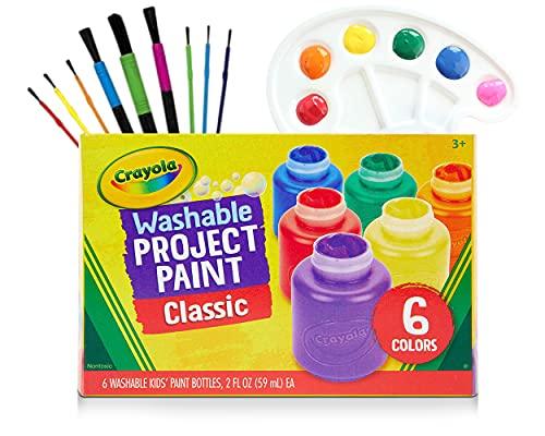 Washable Kids Paint 6 Count, 9 Paint Brushes, Paint Palette - Washable Paint Set For Kids Craft Projects, Finger Painting Supplies Kit