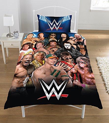 WWE    50 Percent Cotton/50 Percent Polyester Twin Legends Duvet Set , multi black