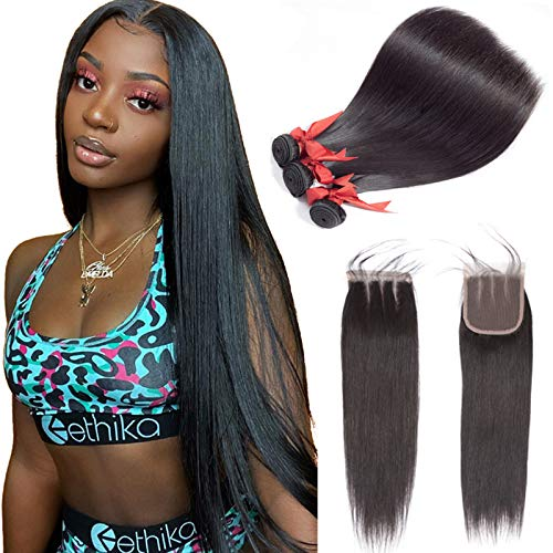 ALLRUN Straight Hair Bundles with Closure Three Part(16 18 20+14closure) Brazilian Straight Human Hair 3 Bundles with Three Part Lace Closure Human Hair Extensions Natural Black Color
