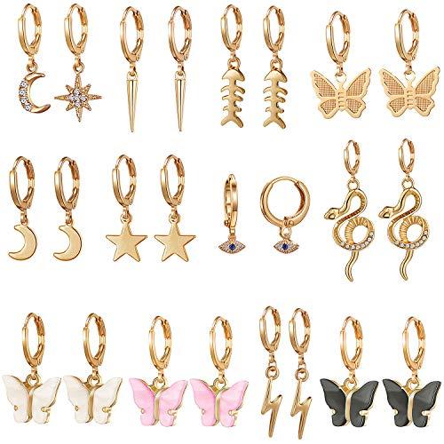 12 Pairs Gold Butterfly Earrings for Women Dangle - Butterfly Dangle Earrings for Women - Gold Hoop Earrings with Charm- Spike Hoop Earrings Set for Teen Girls - Cute Earrings for Women and Girls