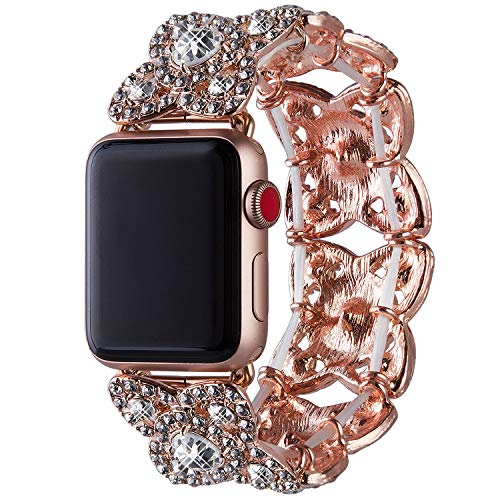 Vikoros Bracelet Bands Compatible with Apple Watch Band 38mm 40mm Iwatch Series 5 4 3 2 1 for Women, Bling Dressy Elastic Stretch Bangle Jewelry Rhinestone Metal Wristbands Strap for Girls, Rose Gold