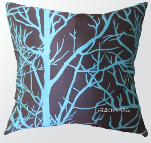 Elleweideco Modern Brown and Cyan Blue Tree Branch Throw Pillow Cover