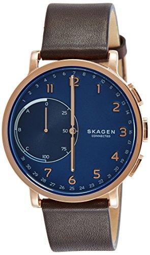 Skagen Connected Men's Hagen Stainless Steel and Leather Hybrid Smartwatch, Color: Rose Gold-Tone, Dark Brown (Model: SKT1103)