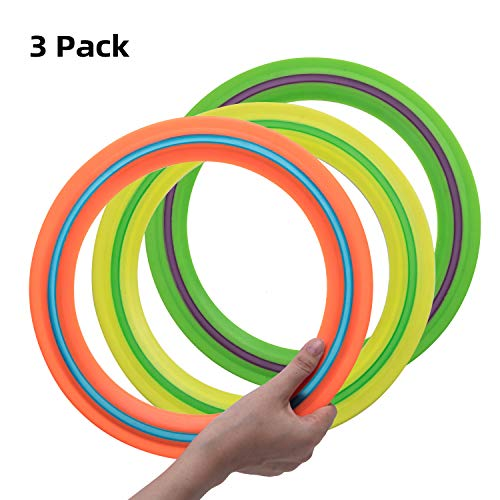 OUOnDAD Flying Disc Toys for Kids Adults 11 inch Flying Ring, 3 Pack Beach Backyard Sports Play Discs Soft Flying Discs-Best Sport Outdoor Toy Gift for 3 4 5 6 7 8 9 10 Year Old Boys Girls Family